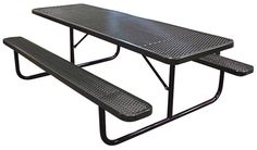 Poly-Coated Metal Picnic Tables: For the ultimate in strength and durability, choose Poly-Coated Tables for your outdoor area. Heavy-gauge perforated steel is coated with a poly plastic material that is stain resistant and requires little maintenance. - Iowa Prison Industries