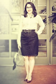 Lace pencil skirt, a perfect outfit for work.