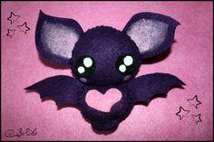 Cute bat felt plush (grey, violet or black). $14.00, via Etsy. Death by cute overload! x_x