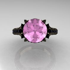 Classic French 14K Black Gold 3.0 Carat Light Pink Sapphire Black Diamond Solitaire Wedding Ring R401-14KBGBDLPS. $2,149.00, via Etsy.