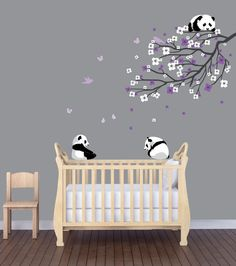 Panda Nursery Decals, Panda Wall Decal, Branch Decal
