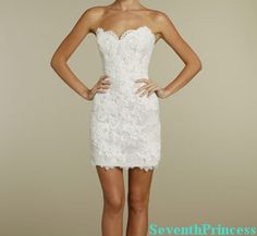 Lace Reception Dress Sheath Sweetheart Mini by seventhprincess, $93.00