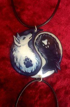 Black White Yin Yang Wolf Canine Dog Spiritual by TrollWorx