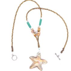 Large Beige Crystal Star or Starfish Pendant Seaside by LehaneArts #Group2020