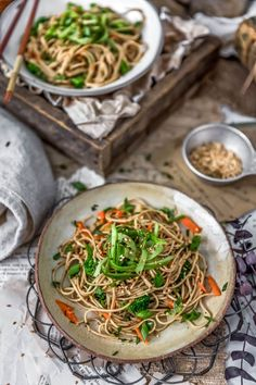 This delicious Broccoli Soba Noodle Salad is loaded with tangy umami flavors covering yummy soba noodles, tasty veggies, and perfect for gatherings! Vegan Dinner Recipes, Vegan Dinners, Lunch Recipes, Side Recipes, Whole Food Recipes, Vegan Party Food, Vegan Snacks, Asia Food, Soba Noodles