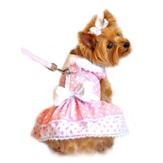 "Doggie Design ""Pink Polka Dots & Bows"" Harness Party Dress with matching Leash set in Pink/White"