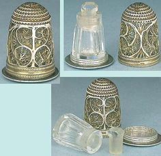 Antique Sterling Silver Filigree Thimble Perfume Bottle English Circa 1780 | eBay
