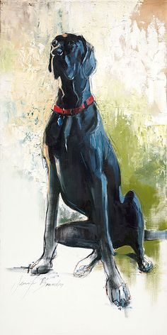 Custom Pet Portrait Painting of Black Great Dane, Mac