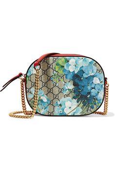 Gucci | Sac porté épaule en toile enduite à finitions en cuir Linea A Disco | NET-A-PORTER.COM