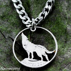 Wolf Jewelry Howling Hand Cut Coin Quarter by NameCoins on Etsy, $34.99