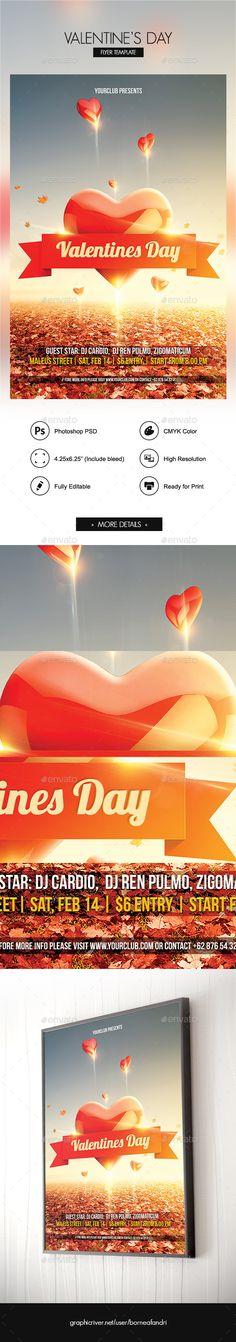 Valentines Day Flyer #design #club  • Download here → https://graphicriver.net/item/valentines-day-flyer/9836079?ref=pxcr