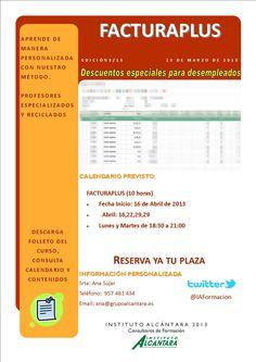 FacturaPlus - 10 horas - Comienzo 16 de Abril - Reserva tu plaza en el 957481434