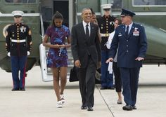 Pin for Later: 36 Times Sasha Was the Most Stylish Member of the Obama Family When She Contrasted a Bright Printed Dress With White Platform Sandals