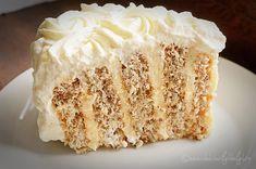 Tort cu nuca si crema de vanilie - Tort spirala cu crema de vanilie Dessert Recipes, Desserts, Diy Food, Vanilla Cake, Waffles, Cheesecake, Sweets, Homemade, Cooking