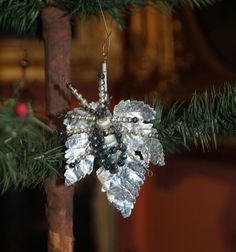 Antique beaded christmas ornament, Insect on paper leaf - ca. 1930   (# 6343)