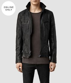 Mens Track Leather Jacket (Black) - product_image_alt_text_1