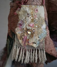 winter garden-- unruly, whimsy, shabby chic small romantic bag, embroidered and beaded purse, from antique and vintage textiles