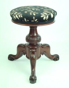 Antique Victorian Rise and Fall Piano Stool. GBP 145. An antique Victorian rise and fall piano stool. standing on a mahogany tripod with bulbous carved stem and scroll carving to the legs. It has been newly recovered in a chenille fabric with a design of leaves in a muted silver on  a black background.     Construction/Wood: Mahogany: