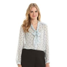Disney's+Minnie+Rocks+the+Dots+a+Collection+by+LC+Lauren+Conrad+Print+Bow-Front+Blouse+-+Women's