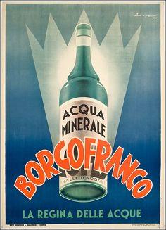 Acqua Borgofranco valle d'Aosta #vintage #poster #originale manifesto www.posterimage.it