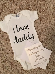 Pregnancy announcement i love daddy onesie gift for by CraftyRoll