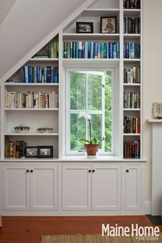 deep bookshelves & cabinets to surround our N office window (w/shelf over window connecting side bookcases) House Design, Wall Bookshelves, House, Built In Shelves Living Room, Family Room, Home, Bedroom Design, Slanted Walls, Ceiling Shelves
