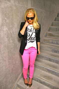 pink skinny jeans casual friday