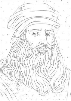 Leonardo Da Vinci Coloring page Free Printable Coloring Pages, Coloring Book Pages, Coloring Sheets, 3d Pencil Drawings, Animal Drawings, Salvador Dali, Leonardo Da Vinci Dibujos, Moleskine, Summer Camp Art