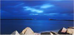 Entrée (bleutée) du port du havre Port Du Havre, Le Havre, Mille, Opera House, Night, Building, Travel, Faces, Puertas