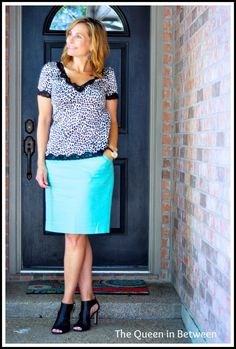 J. Crew Factory skirt with animal print...yes please!  Just add killer heels to complete the outfit.  Queeninbetween.blogspot.com