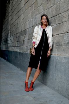 15 Ways to Wear a Light Flight Jacket. Shot in Barcelona for Style Spectra, via Chictopia