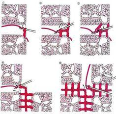 crochet kingdom (E.H): Different Techniques to Joining crochet motifs ! Crochet Motifs, Crochet Blocks, Crochet Diagram, Crochet Stitches Patterns, Crochet Chart, Beau Crochet, Love Crochet, Beautiful Crochet, Diy Crochet