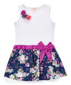 White Floral Drop-Waist Dress - Toddler & Girls