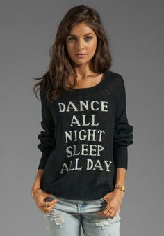WILDFOX COUTURE White Label Dance All Night Pfeiffer Knit in Clean Black - Wildfox Couture