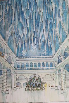 Winter ballroom illustration