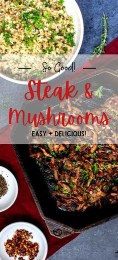 Steak and Mushrooms will never go out of style! The addition of wine gives this dish a luxurious feel, making it perfect for entertaining. (But don't worry, this recipe is easy enough to maintain a casual summer vibe.) It works well with a side of cauliflower rice or a simple green salad with some peppery arugula. Leftovers - if you have any - are fabulous in a wrap or bowl with blue cheese and sauteed onions. Steak And Mushrooms, Stuffed Mushrooms, Simple Green Salad, Blue Cheese, Arugula, Cauliflower Rice, Casual Summer, Don't Worry, Onions