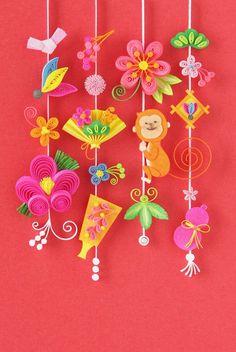 年賀状(申年) | 小紙クラフト - Kogami Craft New Year's Crafts, Cute Crafts, Diy And Crafts, Paper Crafts, Chinese New Year Decorations, New Years Decorations, Paper Quilling Designs, Quilling Craft, Chinese Celebrations
