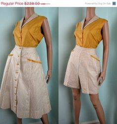 Spring SALE Vintage 1950s Cotton Sateen 3pc by TravelingCarousel, $178.50