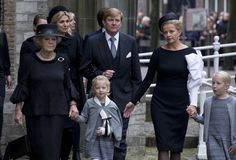Front row...Princess Beatrix of The Netherlands, Princess Zaria, Princess Mabel, Princess Luana..... Queen Maxima of The Netherlands and King Willem-Alexander of The Netherlands arrive at the memorial service for Prince Friso, who died in august this year following a ski accident in 2012, on November 2, 2013 in Delft, Netherlands.