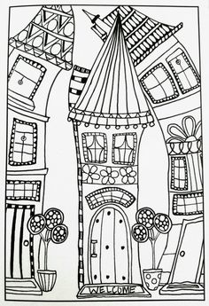 Whimsical houses coloring pages inspirational adult coloring pages - Whimsical houses coloring pages inspirational adult coloring pages # - House Colouring Pages, Coloring Book Pages, Zentangle Patterns, Embroidery Patterns, Art Fantaisiste, Doodles, Printable Adult Coloring Pages, House Quilts, Digi Stamps