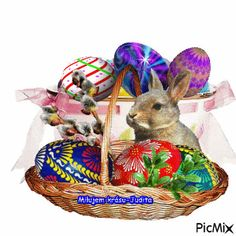 Beautiful Birds, Wicker Baskets, Merry, Decor, Gif Pictures, Bunny Art, Animales, Moving Pictures, Wallpaper Backgrounds