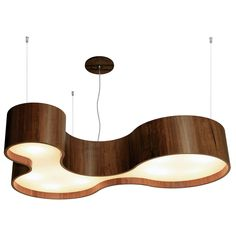 Organic Triple Curved Pendant by Lightology Collection in rich walnut or pine, and has a diffuser on the bottom