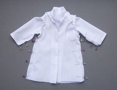 This pattern was designed to fit an Iplehouse JID, but also fits other, smaller MSDs, such as my Doll Leaves Maya. *Note, the first lab coat I made (and used for the steps in the Instruction photo). Coat Pattern Sewing, Coat Patterns, Kids Lab Coat, Doll Clothes Barbie, Barbie Doll, Dolls, Doctor Coat, Lab Jackets, Doctor For Kids