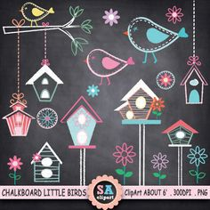 Chalkboard Little Birds Clipart Chalkboard Doodles, Blackboard Art, Chalkboard Designs, Chalkboard Clipart, Vogel Clipart, Bird Clipart, Bird Nest Craft, Bird Crafts, Chalk Drawings