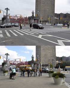 Delancey Street Redesign, NYC. Click for photo via NYCDOT  visit our popular Streets for Everyone board  http://www.pinterest.com/slowottawa/streets-for-everyone/