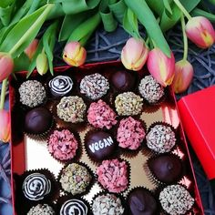 Handmade Personalized VEGAN chocolate box Made to oder: - WithoutYou can find Coconut milk and more on our website. Vegan Chocolate Truffles, Chocolate Box, Milk And More, Coconut Milk, Collage Art, Presents, Sugar, Gluten, Butter