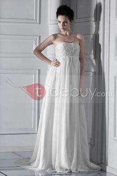 帝国ビーズストラップレス床まで届く長さセレブウェディングドレス