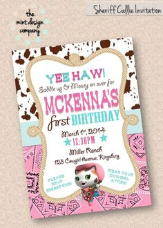 Does your little lady LOVE Sheriff Callie? How about a cowgirl themed birthday party! Now available: Sheriff Callie Themed Cowgirl Birthday by themintdesigncompany, $15.00