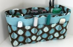 Purse Organizer InsertBrown and Teal Leaves Print  by BABCIM, $21.95