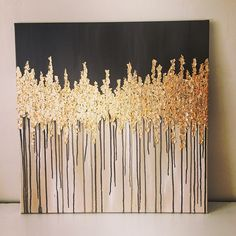 24x24 Gold leaf abstract acrylic painting